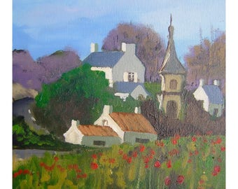 tableau of a landscape of the North of the France, the oil painting, poppies, a few houses