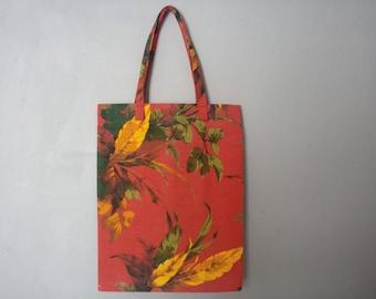 Tote bag is handmade fabric red tropical vintage cotton sack race bag