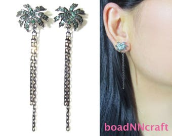 Emerald Green CZ Crystal Rhinestone Clip On Earrings |41A| Summer Tropical Vacation Coconut Palm Tree Black Chain Dangle Fringe Clip Earring