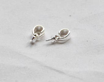 findings jewelry silver plated, set of 2 bails with stem for Pearl or other items