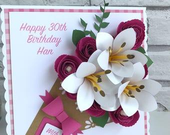 Rose & Lily Bouquet Card, 3D Card, Flower Card, 3D Flower Card, Mothers Day Card, Mother's Day Card, Birthday Card, Anniversary Card