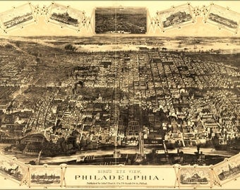 Poster, Many Sizes Available; Birdseye View Map Of Philadelphia 1876
