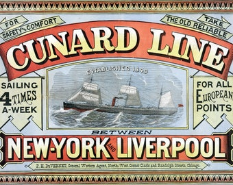 Poster, Many Sizes Available; Cunard Line Sailing Ad, New York City And Liverpool 1875