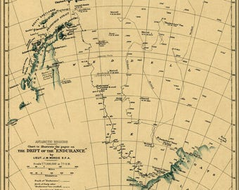 Poster, Many Sizes Available; Map Ernest Shackletons Endurance 1918 Antarctica