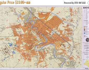 40% OFF SALE Poster, Many Sizes Available; Map Of Baghdad Iraq 2006