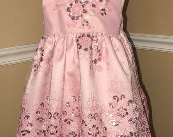 18-24 months silky, lacy rose color dress