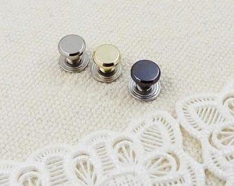 10 Sets 6mm DIY Screw Studs, Handbag Fastener, Belt Rivet Stud, Chicago Nail Brass Solid Concho Stud, Brass Nickel Button For Leathercraft