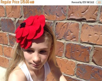 EOFY Sale Red Poppy Flower Headband
