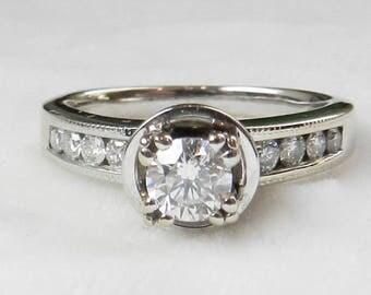Diamond Engagement Ring Half Carat Round Brilliant Cut Diamond Engagement Ring Total carat weight of 1.00 cttw set in 18k white gold