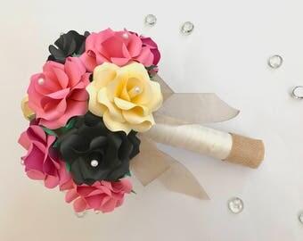 Pink Wedding Bouquet, Pink Flower Bouquet, Pink Rose Bouquet, Pink Bridal Bouquet, Pink Paper Flower Bouquet, Pink Paper Bouquet