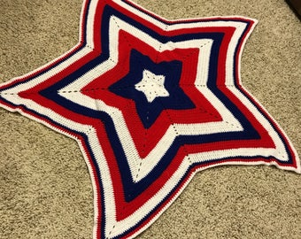 Red white and blue star afghan