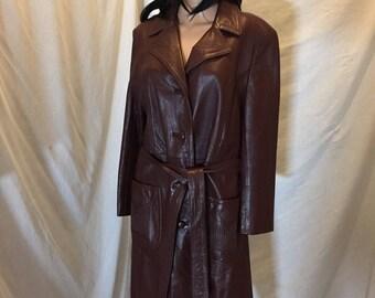 Vintage Mod DANI Burgundy Long Belted Leather Jacket Mid Length Lined USA