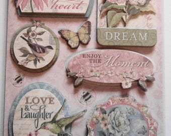 Love, Laughter, SAYINGS, GRAND ADHESIONS, Dimensional Stickers, K&Company, 10 piece, Scrapbooking, Cards, Crafts, Collage,Stationary (K3)