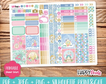 Winter Christmas Printable Planner Stickers.