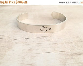 ONE DAY SALE Cuff Bracelet Personalized - State Jewelry - Cuff Bracelet - Texas Bracelet