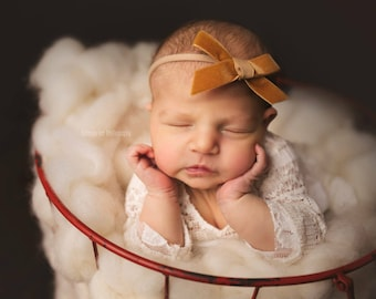 BUTTERSCOTCH VINTAGE VELVET Skinny Hand-tied Bow (Headband or Clip)- velvet bow headband; velvet bow; newborn headband; baby headband; bow