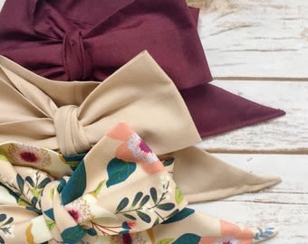 Gorgeous Wrap Trio (3 Gorgeous Wraps)- Raisin, Latte & Beige Floral Gorgeous Wraps; headwraps; fabric head wraps; bows
