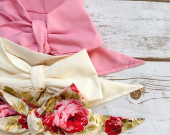 Gorgeous Wrap Trio (3 Gorgeous Wraps)- Dusty Rose, Ivory & Olive Floral Gorgeous Wraps; headwraps; fabric head wraps; bows