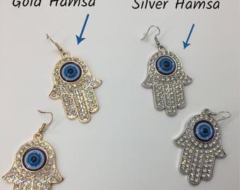 Hamsa Earrings, Hamsa Rhinestone Earrings, Evil Eye Protection Earrings, Ojo Earrings, Symbolic Earrings, Hand Of Fatima Earrings