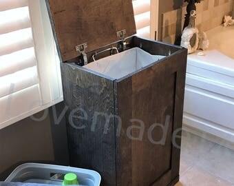 Laundry hamper, wood laundry hamper, DARK WALNUT, (S-Dw-Fl-hamp)