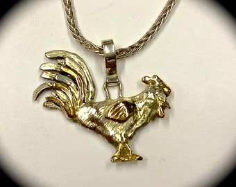 14k white and yellow Gold rooster pendant, hand-fabricated one-of-a-kind piece!