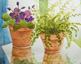African Violet and Fern, Purple flowers, Potted Plants, Print of Watercolor, Print, Decorative, poster,decor,office, home,art,e