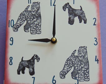 "Ceramic tile Kerry Blue Terrier dog clock, 6"" square, red border"