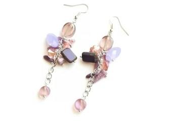 Purple glass beads earrings boho medium long bronze handmade earrings Lavender earrings handmade Czech glass beads earrings gift for her