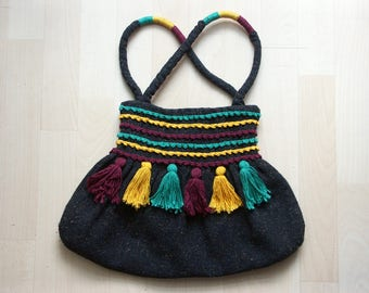 Handbag made of brown Tweedstoff - no postage will be charged