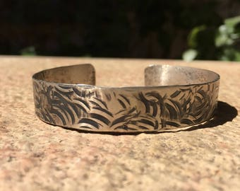 Oxidized Silver hammered cuff