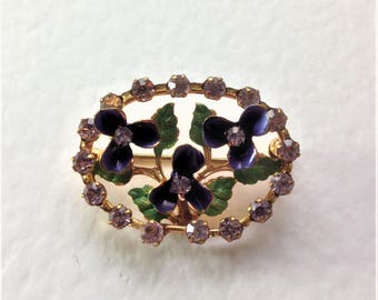 Vintage Enamel Brooch, Crystal Brooch, Flower Brooch, Circa 1940, Hand Painted Brooch