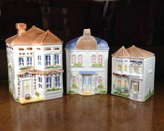 Avon Townhouse Canister Collection Sales Representatives Gift Set of 3