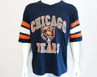 Vintage Chicago Bears Shirt - NFL- V Neck - Football shirt - Logo 7 - Navy Blue - Size XL