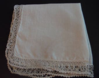 White Hankie with Vintage Lace Edge Bridal or Wedding Style Shabby Chic