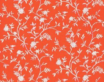DESIGNER AVIARY BIRDS Cotton Linen Printed Fabric 10 Yards Pink Persimmon