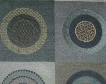 LEE JOFA KRAVET Boho Circles Quads Embroidered Linen Fabric 10 Yards Grey Taupe Brown Multi