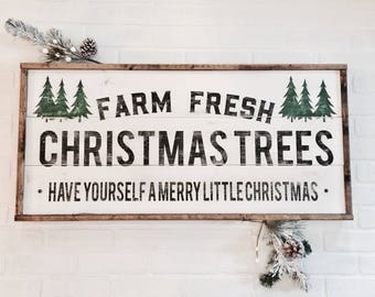 Farm fresh Christmas trees | Wood Sign