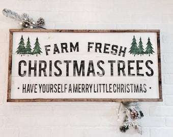 Farm fresh Christmas trees | Wood Sign