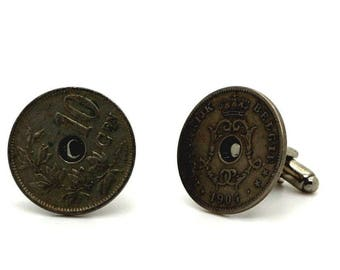 """Authentic """"Belgium"""" 10 cents coin cuff links. TMPL_SKU004778"""