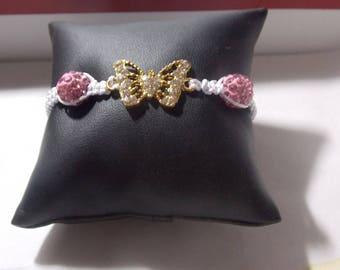 Shamballa papillons strass rose