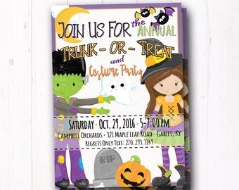 Halloween Party Invitation - Trunk or Treat Flyer - Costume Party - Kids Trick or Treat - Halloween Birthday Party Invite - Haunted House