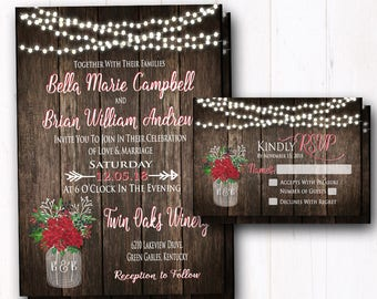 Christmas Wedding Invitation - Winter Wedding Invite - Rustic Country - Barn Wood - String Lights - Holiday Mason Jar - Suite
