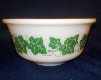 "Hazel Atlas 7"" Mixing Bowl with Green Ivy Pattern"