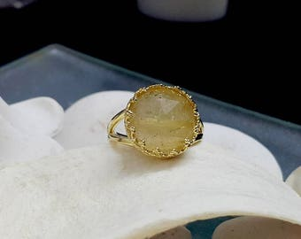 SALE! Rutilated quartz ring, delicate ring, statement ring,gold stone ring,gold ring, band ring, thin ring,double band ring