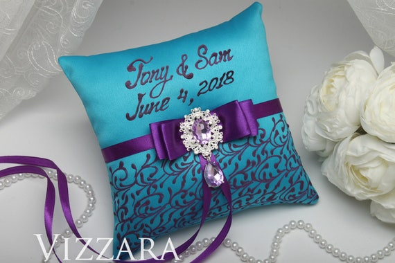 Ring bearers pillows Purple and turquoise wedding Ring bearer