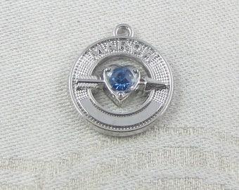 1 (or 2) Birthstone March Silver and Rhinestone Charms, SYM101-Mar