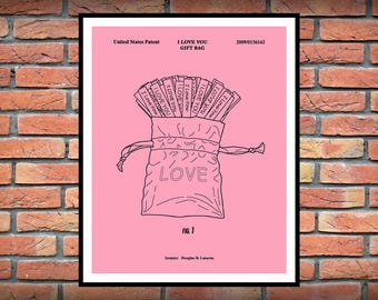 Valentine I Love You Gift Bag Patent Print - Art Print -Valentine's Day Gift Idea - Novelty Gift Idea - Unique Way to Say I Love You
