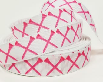 "7/8"" inch Pink Golf Tee Tees on white - Matches Golf Ribbon- Printed Grosgrain Ribbon for Hair Bow - Original Design"