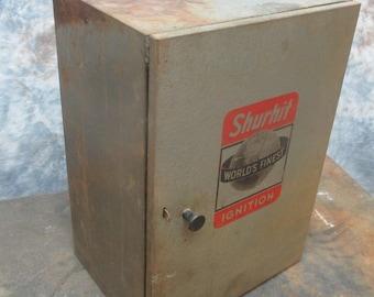 Shurhit Worlds Finest Ignition Metal Cabinet Store Vintage Automobile Parts