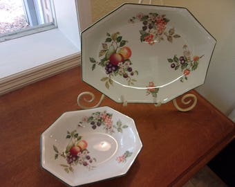 Johnson Brothers,made in England,serving platter,serving bowl,china,fruit motif,dining and serving,white background,green trim,display